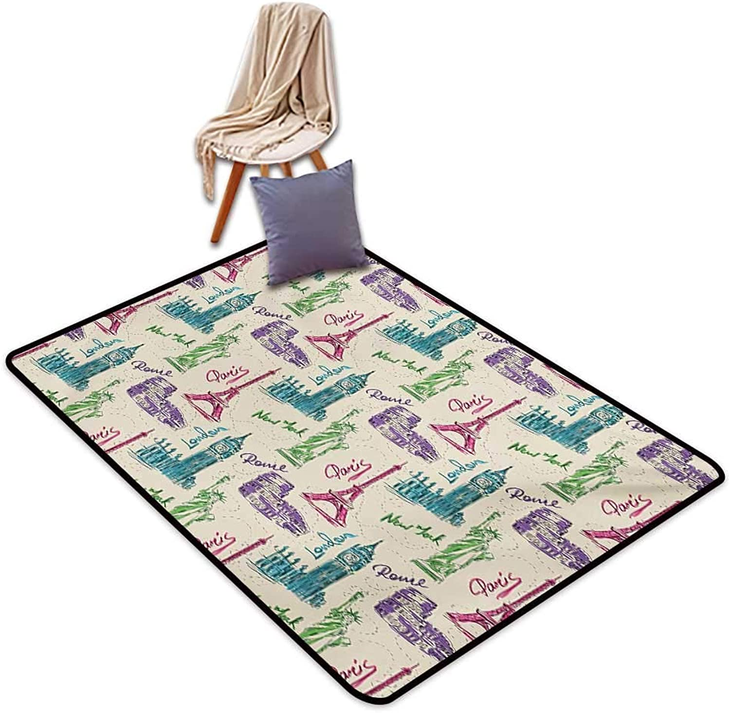 City Indoor Super Absorbs Mud Doormat Big Ben Eiffel Tower Statue of Liberty Colosseum Doodle Sketch Tourist Attractions Water Absorption, Anti-Skid and Oil Proof 48  Wx59 L Multicolor