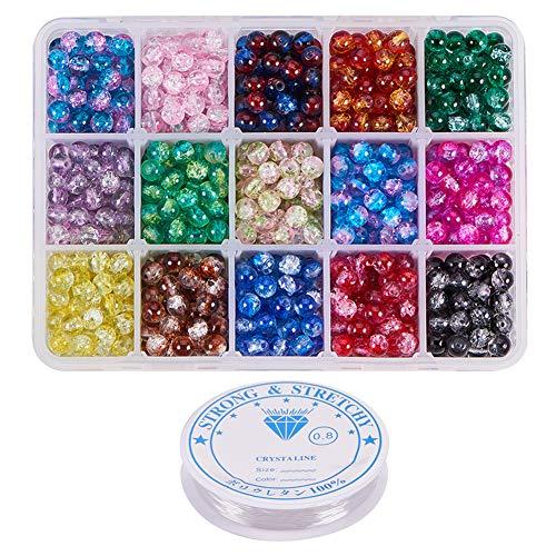 PandaHall 1050 unidades de 15 colores de 6 mm en spray para pintar con cuentas de cristal, surtido con hilo de cristal elástico para pulseras, collares y joyas (0,8 mm, 5 m/roll)