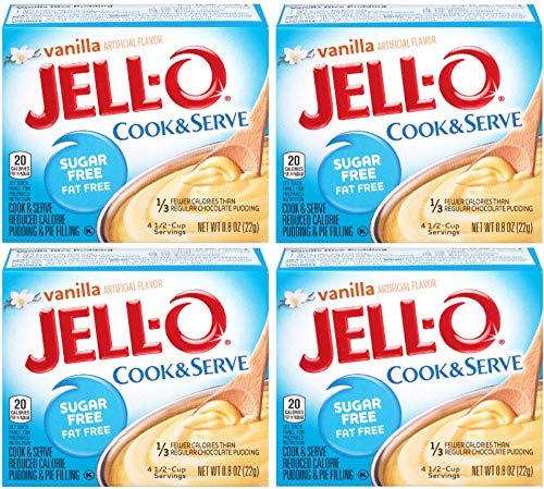 Jell-O, Cook & Serve, Sugar Free Vanilla, 0.8oz Box (Pack of 4)