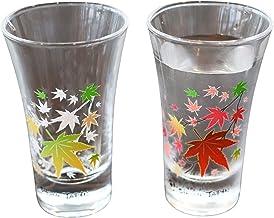 丸モ高木陶器 冷感紅葉 グラス天開ペアセット 冷感 紅葉 グラス ペアセット 贈り物 温度で変化 不思議な マジック 日本酒 乾杯 ギフト プレゼント お祝い