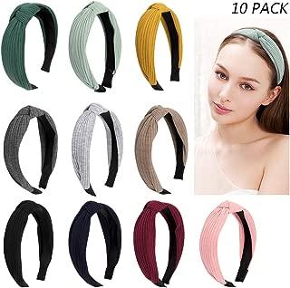 Jaciya 10 Pieces Knotted Headbands for Women Turban Headbands for Women Wide Headbands for Women Knot Headband 10 Colors