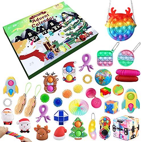 Qsurluck 2021 Christmas Countdown Adventskalender Figetsss Spielzeug-Sets,Fidget Spielzeug Set,für Zuhause, Schule, Büro, Party, Eltern-Kind-Spiel (37Pcs D)