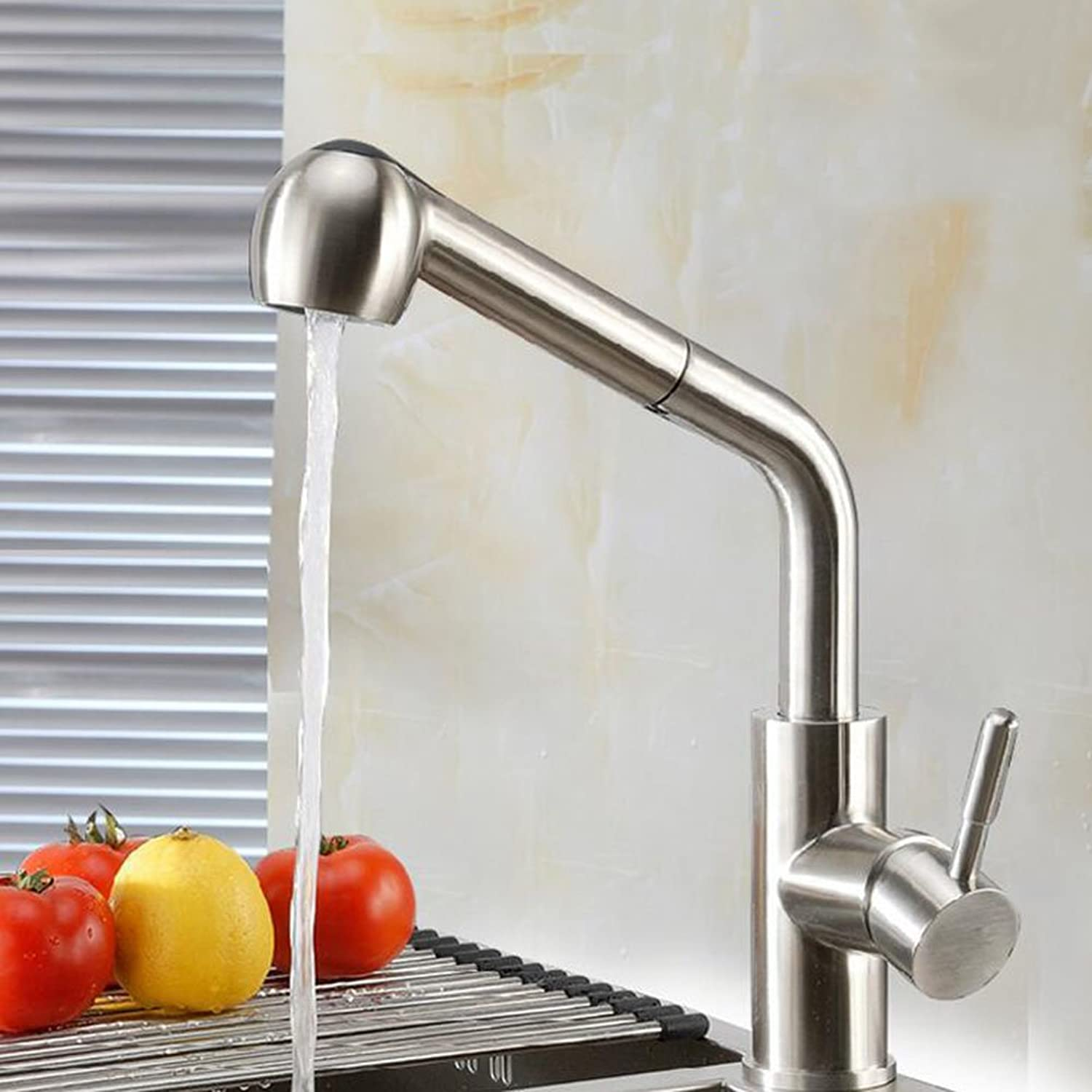 Kitchen Sink Mixer Tap Stainless Steel 360° Swivel Faucet Pull Out Kitchen Tap Basin Mixer Tap