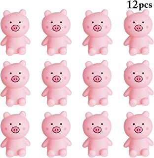 Coxeer 12PCS Squeaky Toy Creative Lovely Pig Stress Relieve Toy Bath Toy Kids Prank Toy