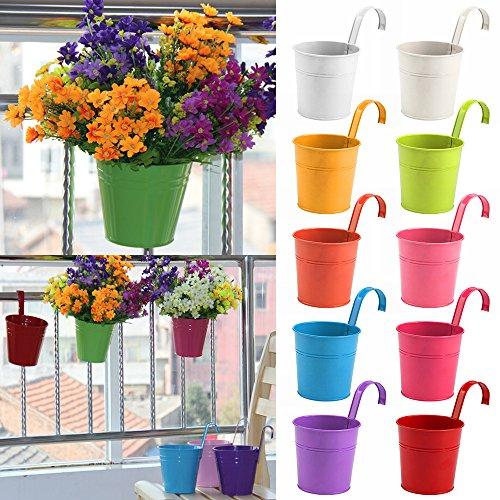 AllRight 10 Pots de Fleur avec Crochet Amovible de Fer Décoration Jardin Coloré Balcon Jardinière