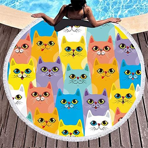 IAMZHL Toalla de Playa Redonda Colecciones de Gatos Lindos Tapiz de Microfibra Alfombra de Dormitorio Estera de Yoga Mantel Toalla de baño para Nadar Manta de Playa-a9-Diameter 150cm