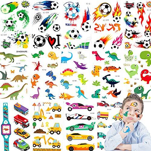 Tattoo Kinder,Jusduit Dino Tattoos Set 14 Blätter Fußball Dinosaurier Fahrzeuge Wasserdichte Kindertattoo Temporäre Tattoos Kinder Aufkleber für Mädchen Jungs Kindergeburtstag Mitgebsel Party