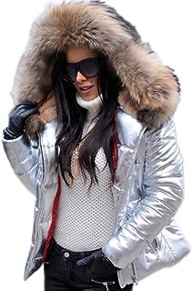 Roiii Abrigo de mujer de moda con capucha y cintura alta de piel sintética