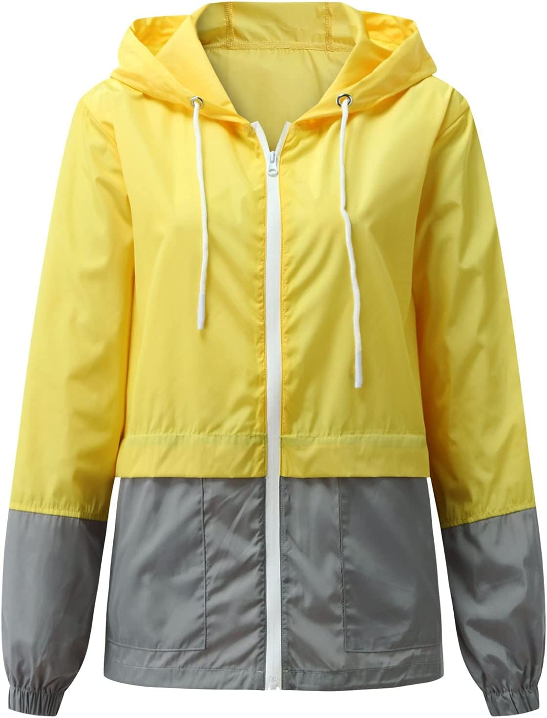 Smileyth Women's OFFicial store Oklahoma City Mall Waterproof Hooded Windbreaker Casual Colorblock