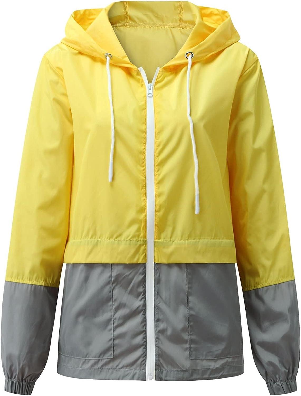 FANGTION Waterproof Windbreaker for Women,Plus Size Zip Up Hooded Rain Jackets Lightweight Outdoor Raincoat for Hiking,Travel