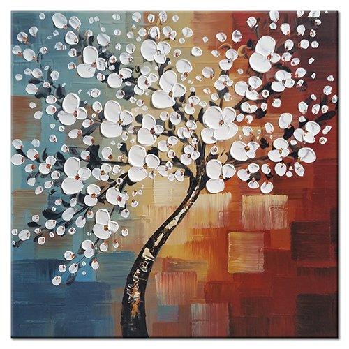 Wieco Art, 'Luce del mattino', UK-FL1089-6060, completamente dipinto a mano, arte astratta moderna, dipinto floreale olio su tela, decorazione da parete per la casa