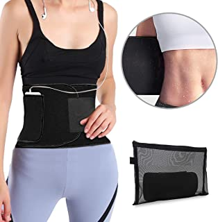 Youtec Waist Trimmer, Neoprene Sweat Waist Trainer Belt, Stomach Wrap, Workout Sport Band, Velco Adjustable Belly Sweat Belt for Women Men with Phone Bag (Upgraded)