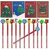 HOWAF 36pcs Mini Bloc de Notas de Navidad y Navidad lápiz de Madera con Borrador para Niños Regalos para Navidad Fiestas Cumpleaños Infantiles Relleno piñatas Premios Escolares