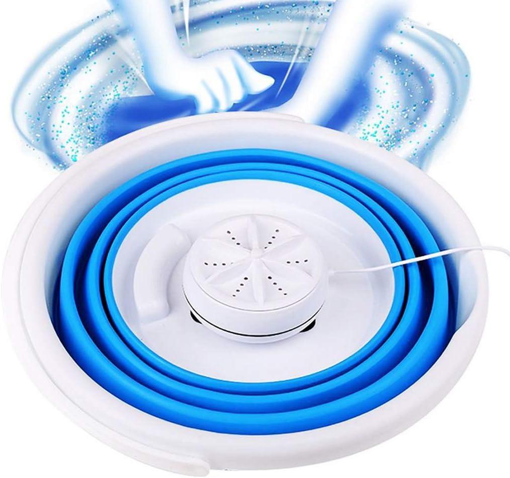 Lavadoras Portatiles con Centrifugado,Tina De Lavanderia Plegable,lavadoras Pequeñas, Mini Lavadora Portátil De Tina,para Ropa Interior Femenina/Ropa De Bebé (Color : Blue, Size : 32 * 32 * 24cm)