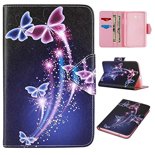Skytar Samsung tab3 Lite t-110 Custodia - Bookstyle Stand Case Cover in PU Pelle Custodia per Samsung Galaxy Tab 3 7.0 Lite T110 T111 T113 T116 (7 Pollici) Tablet Protezione,Farfalla Viola