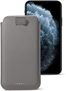 Lucrin - Pull-Up Strap Case Sleeve Cover Compatible with iPhone 11 Pro Max/XS Max/ 8 Plus and Wireless Charging - Mouse-Grey - Genuine Leather