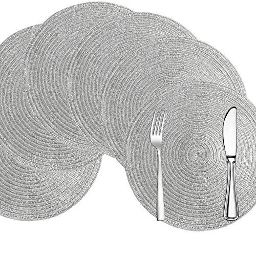 Comius Sharp Tovagliette Rotonde Set di 6 tovagliette in Cotone Lavabili Resistenti al Calore 15 Pollici tovagliette tessute da tavola per tavoli da Cucina (Silver)