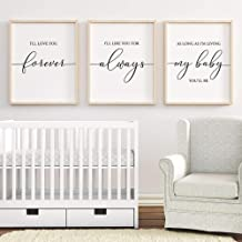 LZHNB Nordic Canvas Painting I'll Love You Forever Print Nursery Wall Art Poster Home Decoration Baby Shower Gift-40x60cmx3 pcs no Frame