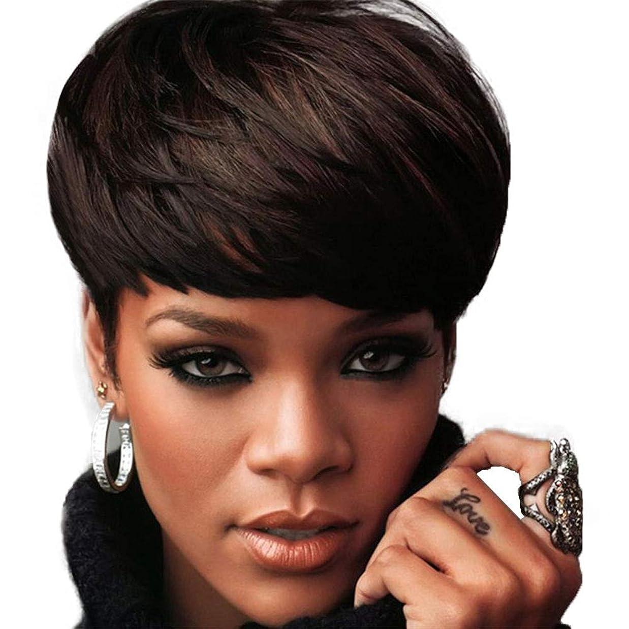 主観的むしろアナウンサーストレートブラジルバージン人毛ショートウィッグダークブラウン23 cmのための女性の短い人毛ウィッグ