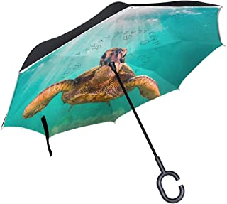 Ladninag Hipster Chihuahua Dachshund Pug Dog Inverted Umbrella, Large Double Layer Outdoor Rain Sun Car Reversible Umbrella