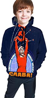 Soviet Propaganda Yuri Gagarin Tapestry Teen Hooded Sweate Black S(7-8) Comfortable Classic Boy Girl