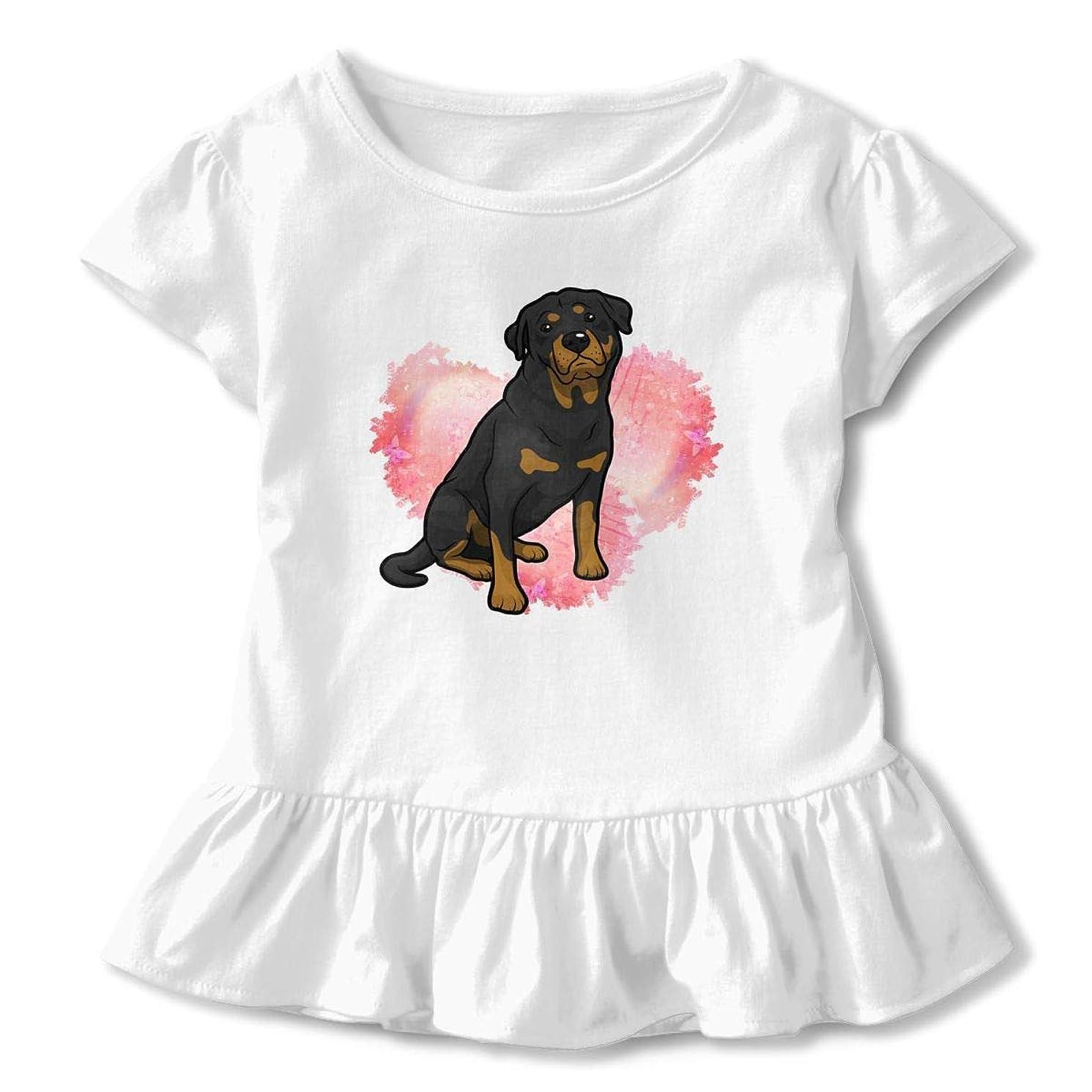 SDHEIJKY Love Rottweiler Heart Toddler Baby Girls' Short Sleeve Ruffle T-Shirt