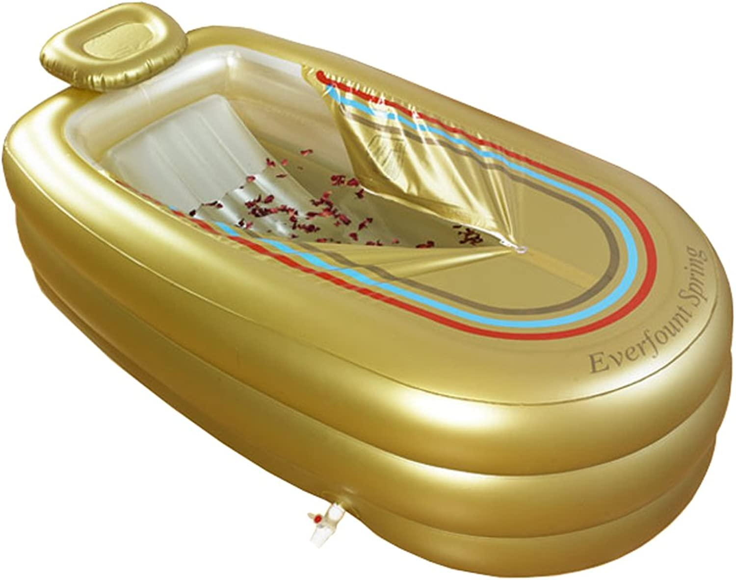 Bathtub XL Inflatable Plastic tub, Adult PVC Folding Bath Barrel Shower Bath, Portable, Soaking SPA Tub, with Eletric Pump, gold color, 168cm78cm45cm