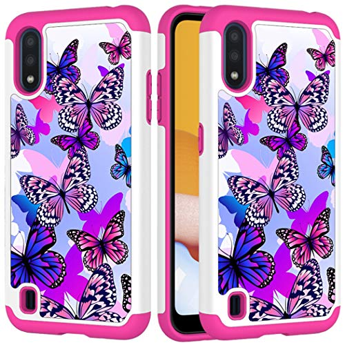 Yerebel Phone Case for Galaxy A01 Case, [US Version] Galaxy A01 Cute Case for Girls, Shockproof Defender Heavy Duty Phone Cover Cases for Samsung Galaxy A01 (Butterfly)