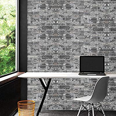 Oxdigi Vintage Brick Stone Peel and Stick Wallpaper 3D Visual Effect Self Adhesive Film Decorative Removable Waterproof Wallpaper for Living Room Bedroom Bathroom 24 x 196 Inches