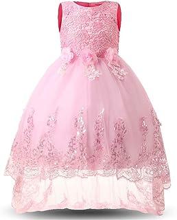 LYQ 光沢のあるスパンコールリトルガールズプリンセスページェントドレスハイローガウンダンスチュチュトレインフラワーガールズドレスキッズガールズノースリーブ刺繍レースイブニングパーティーウェディングドレス (パターン : ピンク, サイズ : 160)