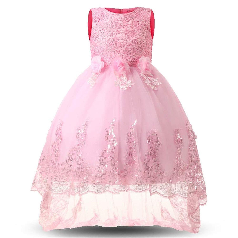 LYQ 光沢のあるスパンコールリトルガールズプリンセスページェントドレスハイローガウンダンスチュチュトレインフラワーガールズドレスキッズガールズノースリーブ刺繍レースイブニングパーティーウェディングドレス (パターン : ピンク, サイズ : 140)
