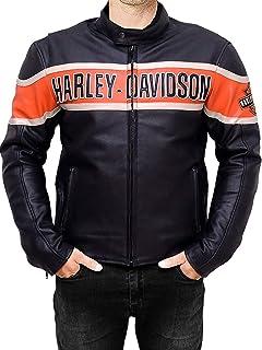 DeColure Heren Harley Davidson Motorbike lederen vintage jas - zwart lederen jassen Heren