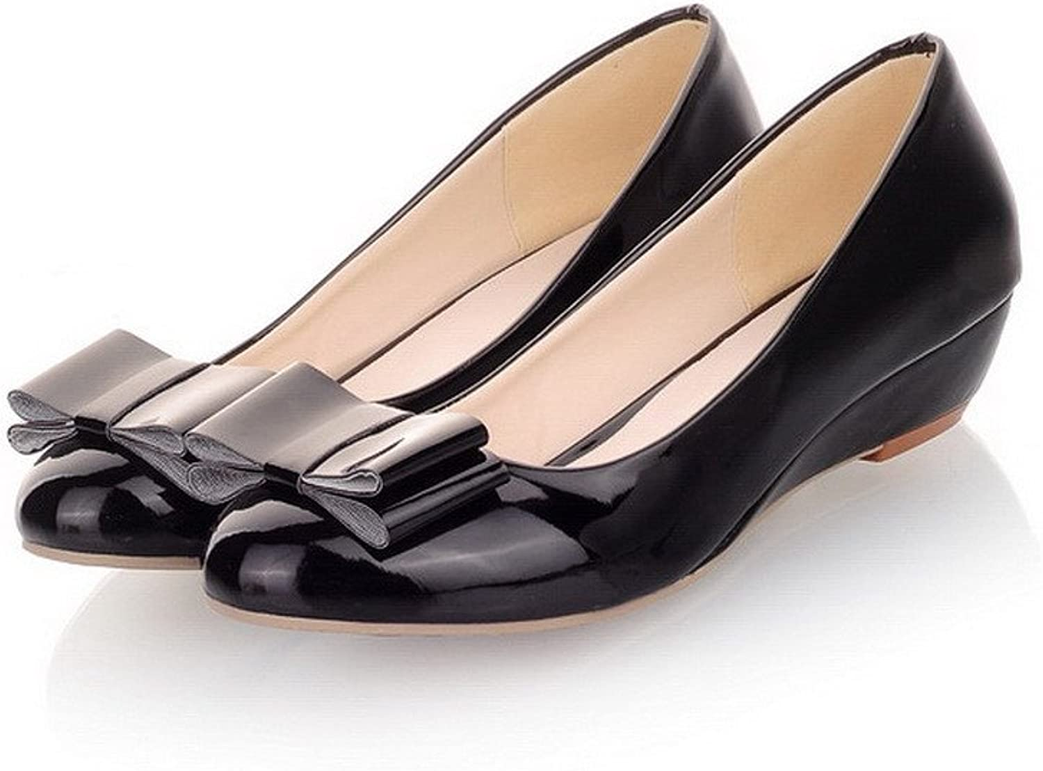 WeiPoot Womens Closed Round Toe Low Heel PU Soft Material Solid Pumps with Bowknot, Black, 7.5 B(M) US