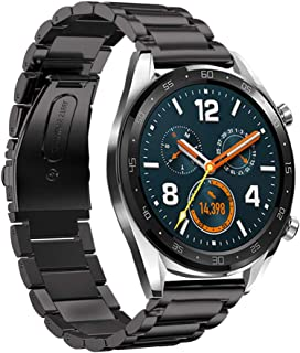 LeafBoat Compatible Huawei Watch GT Band, 22mm Adjustable Classic Wristband Bracelet Stainless Steel Band for Compatible Huawei Watch GT Sport/Classic/ Ticwatch S2 &Ticwatch E2 Smartwatch (Black)