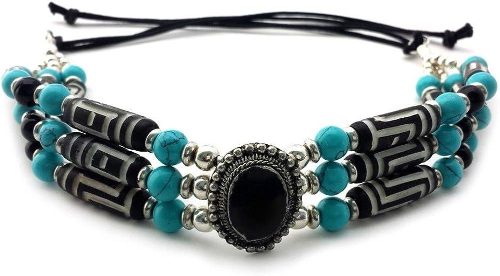 Local Bead Shop Handmade 3 Line Carved Buffalo Bone Hairpipe Traditional Tribal Choker Necklace