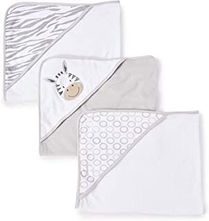 Spasilk 3 Piece Soft Terry Hooded Towel Set, Grey Zebra