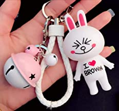 1 Pcs Cute Kawaii Cartoon I Love Brown T-Shirt Squinting Smile Cony Bunny Keychain Bell White Wrist Rope Toy Gift Fashion Excited Rabbit Ornaments Coin Purse Keyring Bag Buckle Phone Pendant