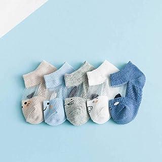 ZHANGNUO, 5 Pares/Lote 0 a 8 Años Primavera Verano Calcetines Finos De Malla para Niñas Niños Calcetines Finos De Animales Lindos Calcetines Cortos para Bebés Recién Nacidos