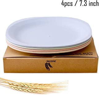 Greenandlife Lightweight Wheat Straw Plates - 4Pack Unbreakable Dishes and Plates Sets Non-toxin, Dishwasher & Microwave Safe BPA free and Healthy for Kids Children Toddler & Adult (7.3'')