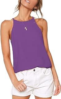 Womens Tops Sleeveless Halter Racerback Summer Basic Tee Shirts Cami Tank Tops Beach Blouses