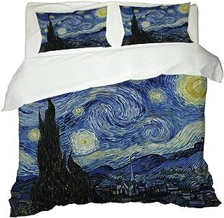 IJBSDJI Funda De Edredón 200x200,Noche Estrellada De Van Gogh,Juego De Ropa De Cama Moderno Microfibra Poliéster,con 2 Funda De Almohada