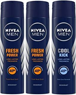 Nivea Men Power Charge Deodorant, 150ml (Pack of 3) and Men Cool Kick Deodorant, 150ml