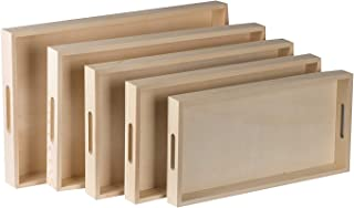 Hammont Wooden Nested Serving Trays - Five Piece Set of Rectangular Shape Wood Trays for Crafts with Cut Out Handles   Kit...
