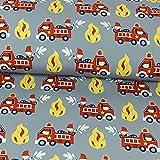 Softshell Feuerwehr grau Kinderstoffe Öko-Tex - Preis gilt