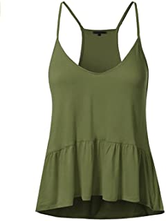 a148e7ce06f02e Memoriesed Summer New Sexy Ladies Sleeveless Spaghetti Strap Top Solid  Ruffle Hem Camis Tops Women s Tees