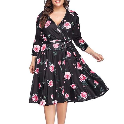 14744236c4 PARTY LADY Women s V-Neckline Stretchy Casual Midi Floral Dress Plus Size(L-