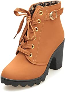 SNIDEL Ankle Boots for Women Chunky high Heels Work Winter Motorcycle Cowboy Martin Boots Fall Combat lace up Booties Platform Dress Shoes