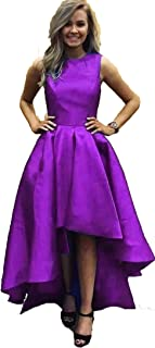 BessDress High Low Prom Dresses with Pockets Satin Evening Cocktail Gown BD550