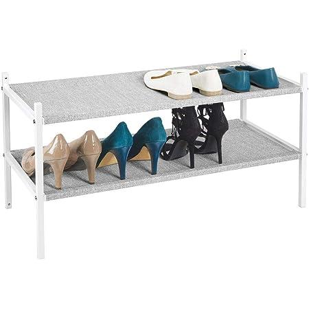 mDesign Mueble zapatero para el armario o el recibidor – Guarda zapatos bajo de metal y tejido transpirable, repelente al agua – Compacta estantería ...