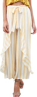 Simplee Women's Summer Casual Palazzo Pants Striped Loose...
